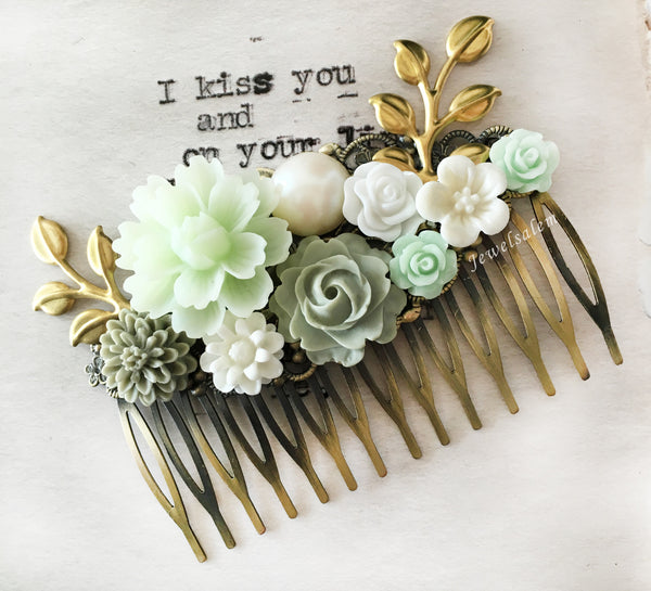 Sage Green Wedding Bridal Comb Gold Leaf Hair Comb for Bride Floral Headpiece Bridesmaid Gift Vintage Style Flower Hair Slide - Jewelsalem