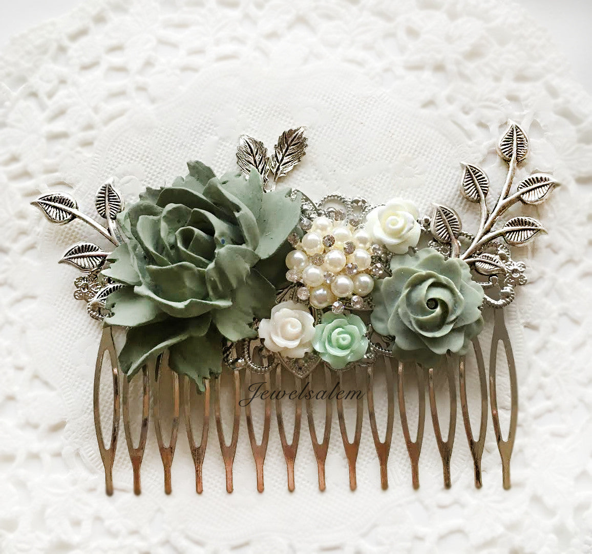 Giverny - Sage Green Bridal Hair Comb - Jewelsalem