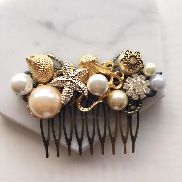 Starfish Gold Wedding Hair Comb with Pearl Shell Rhinestones - Jewelsalem