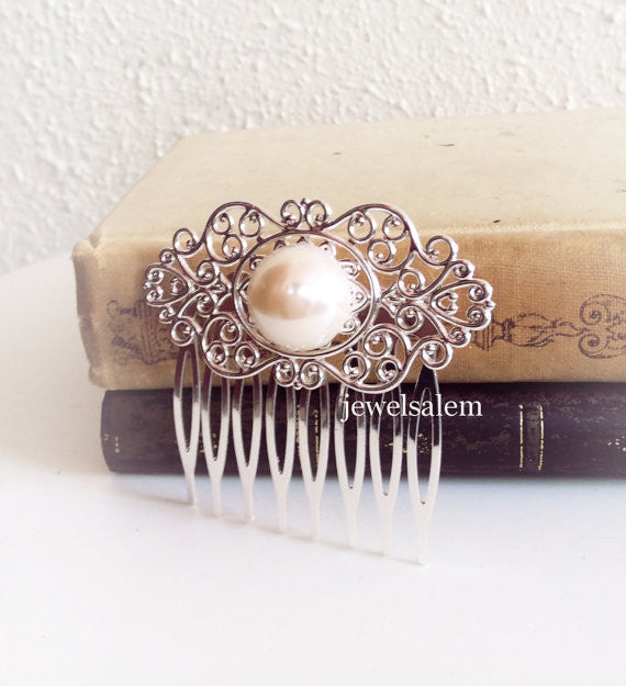Silver Hair Comb White Pearl Cream Ivory Pearl Wedding Headpiece Victorian Vintage Style Bridal Bridesmaid Comb Gift Something Old - Jewelsalem