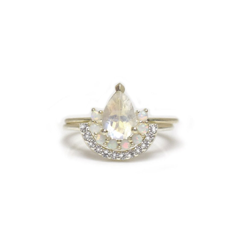 La Reine - Sterling Silver Diamond Moonstone 2 Stacking Rings