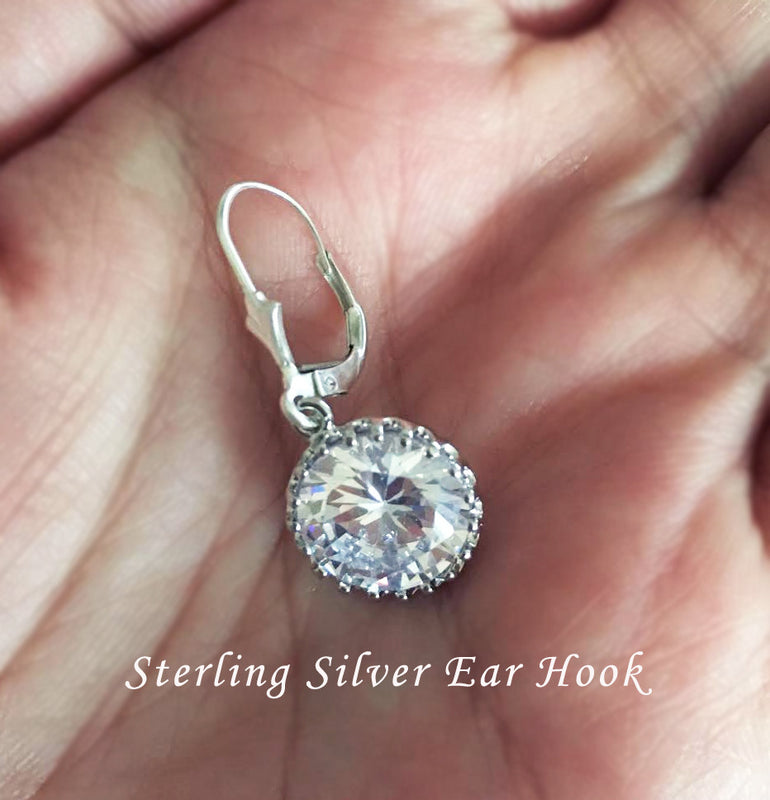 Alistair Earrings - Round Cubic Zirconia Wedding Earrings - Jewelsalem