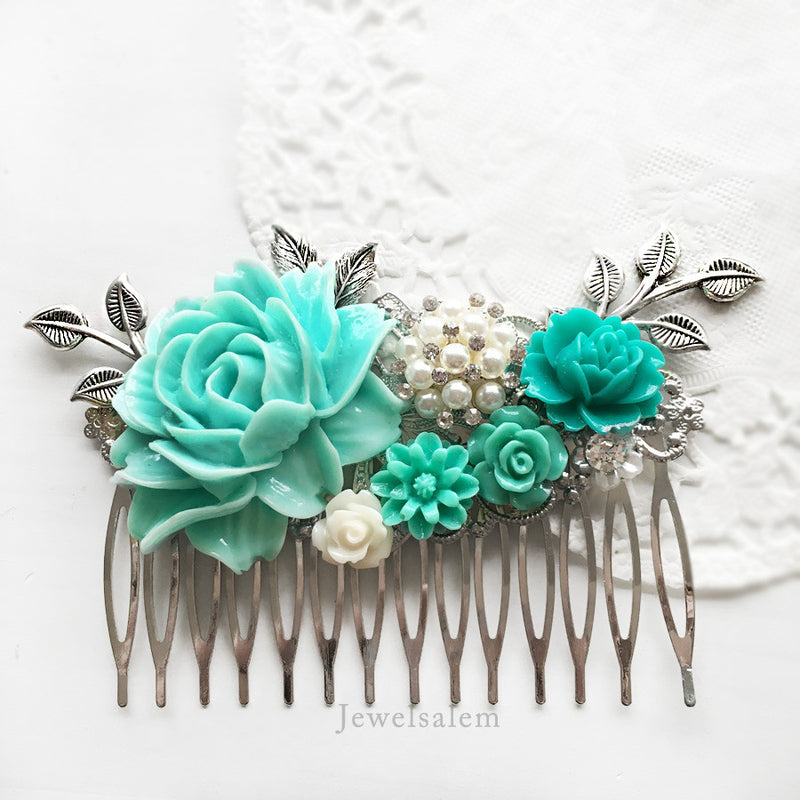 Felicity - Silver Turquoise Wedding Hair Comb - Jewelsalem