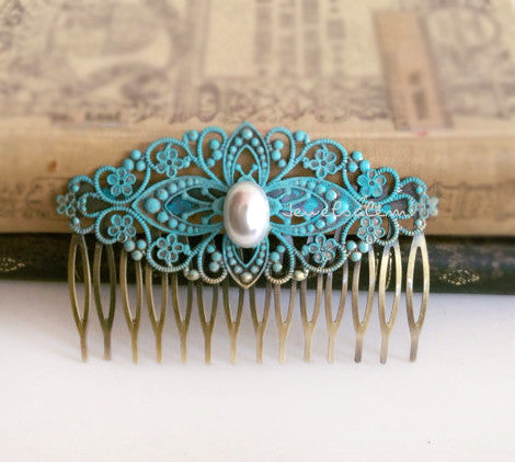 Patina Blue Hair Comb Pearl Turquoise Hair Pin Something Blue - Jewelsalem