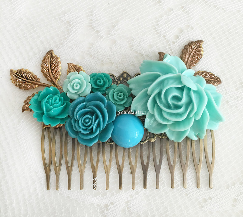 Wedding Hair Comb Turquoise Teal Bridal Flower Comb Blue Floral Hair Slide Aqua Bridesmaid Gift Hair Pin Modern Romantic Headpiece - Jewelsalem