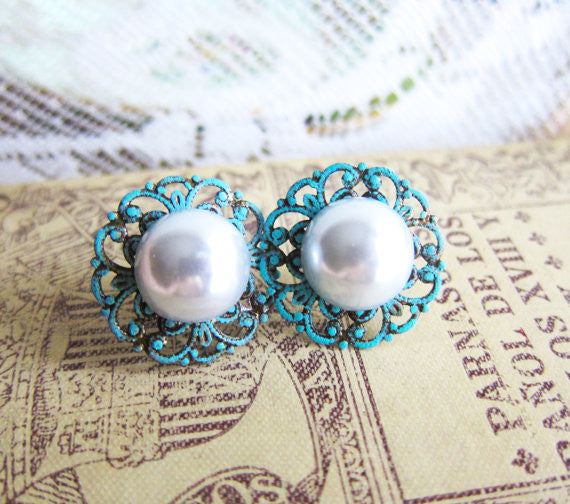Turquoise Pearl Earrings, Wedding Jewelry, For Bride Bridesmaids - Jewelsalem
