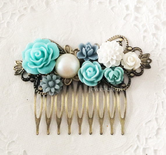 Turquoise Wedding Teal Hair Comb Blue Aqua Bridesmaids Gift Bridal Headpiece Flower Hair Slide for Bride Something Blue Vintage Rustic Shabby Chic - Jewelsalem