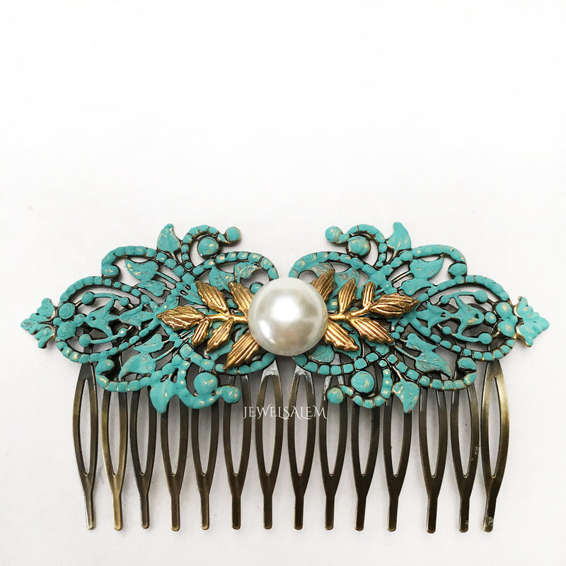 Wedding Hair Comb Turquoise Pearl Hair Comb Blue Bridal Hair Comb Gold Leaves Hair Slide Victorian White Ivory Pearl Comb Bridesmaid Gift - Jewelsalem
