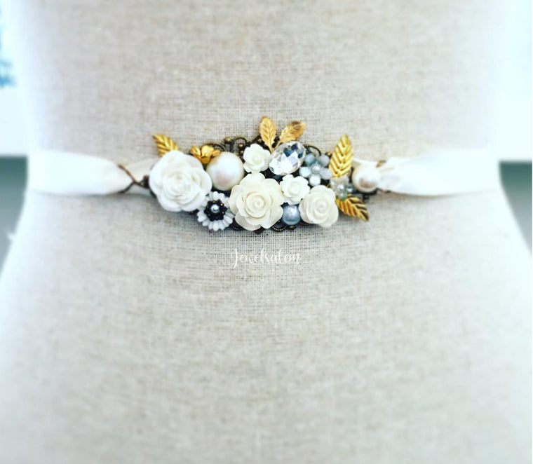 Somerset - White Bloom and Gold Leaf Bridal Belt