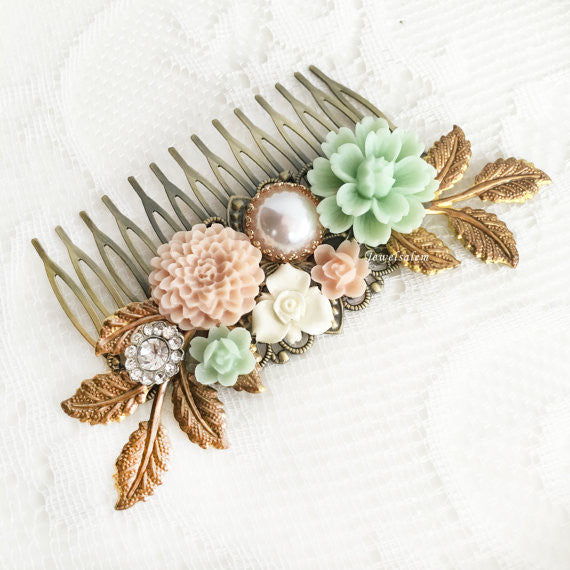 Bridal Hair Comb Mint Green Blush Pink Wedding Flower Headpiece Romantic Floral Hair Slide Pastel Hair Adornment Elegant Hair Pin for Bride - Jewelsalem