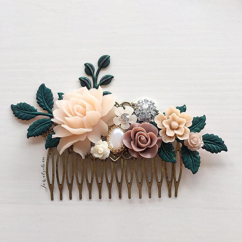 Alyssum - Old Rose Peach Wedding Hair Comb