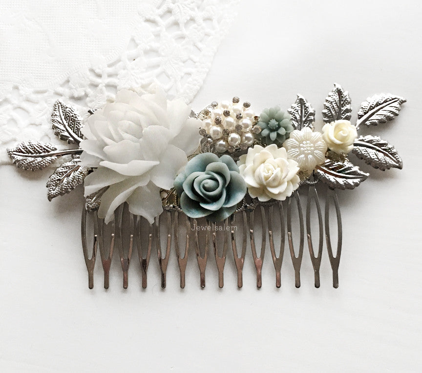 Iris - Mercury Steel Blue Wedding Comb - Jewelsalem