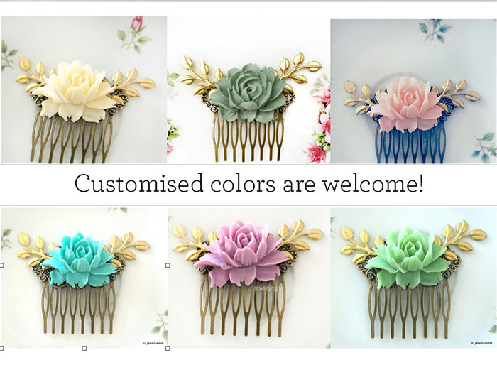 Cora - Dark Blue Wedding Comb Navy Blue Rose Hair Comb Gold Leaf Bridal Hair Comb Bridesmaids Hair Comb Wedding Hair Accessories