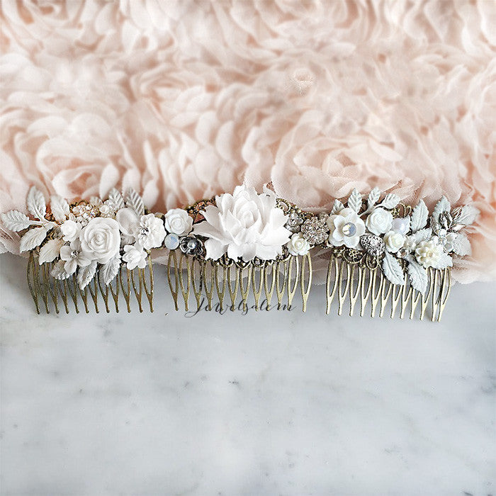 Elodie - Long Bridal Hair Vine Romantic Wedding Hair Wreath Tiara Comb