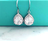 sterling silver CZ crystal earrings, wedding jewelry - Jewelsalem