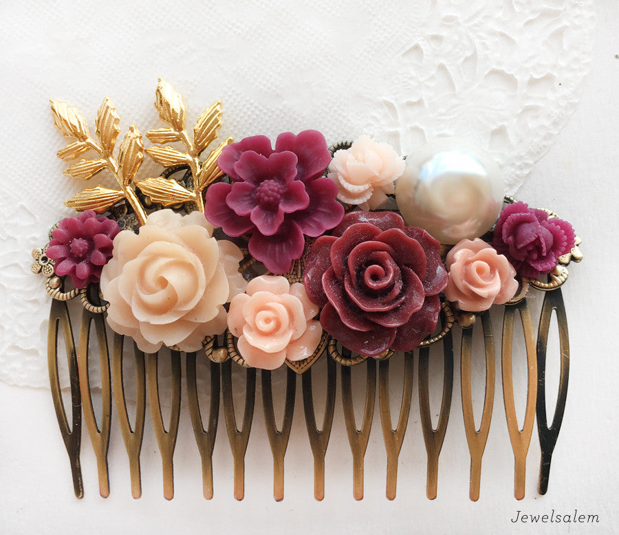 Maroon Fall Wedding Bridal Hair Comb - Jewelsalem