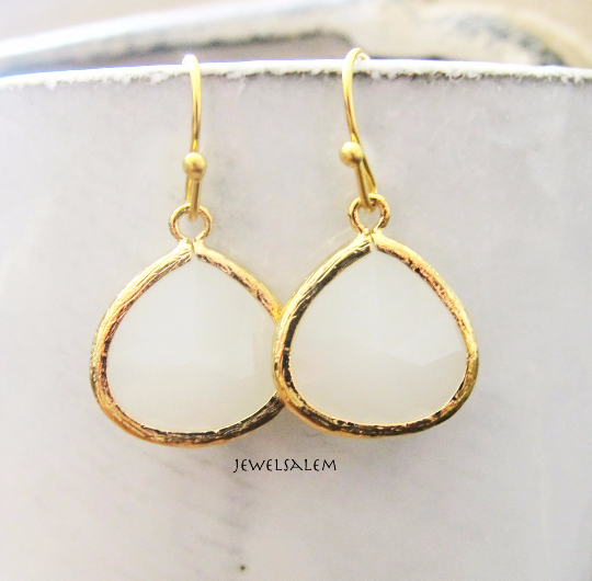 White Earrings Gold Earrings Bridal Earrings White Bridesmaid Earrings Elegant Earrings for Bride Modern Jewelry Glass Dangle Earrings C1 - Jewelsalem