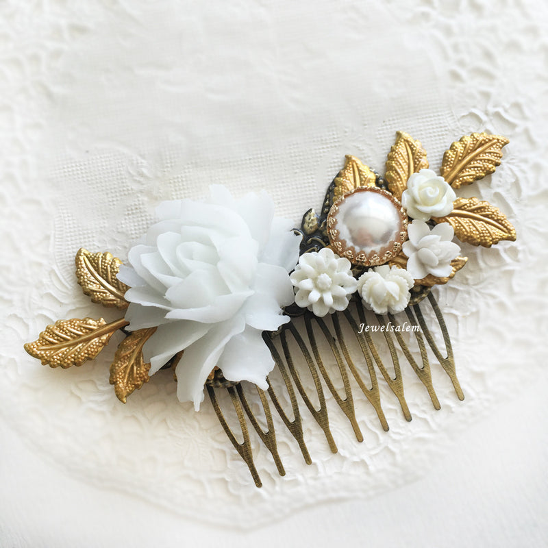 Beautiful Bridal Hair Accessories Modern Victorian Wedding Hair Comb Flower Headpiece Romantic Hair Adornment - Jewelsalem