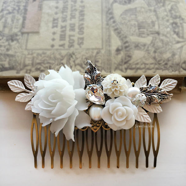 Elegant White Wedding Hair Comb - Jewelsalem