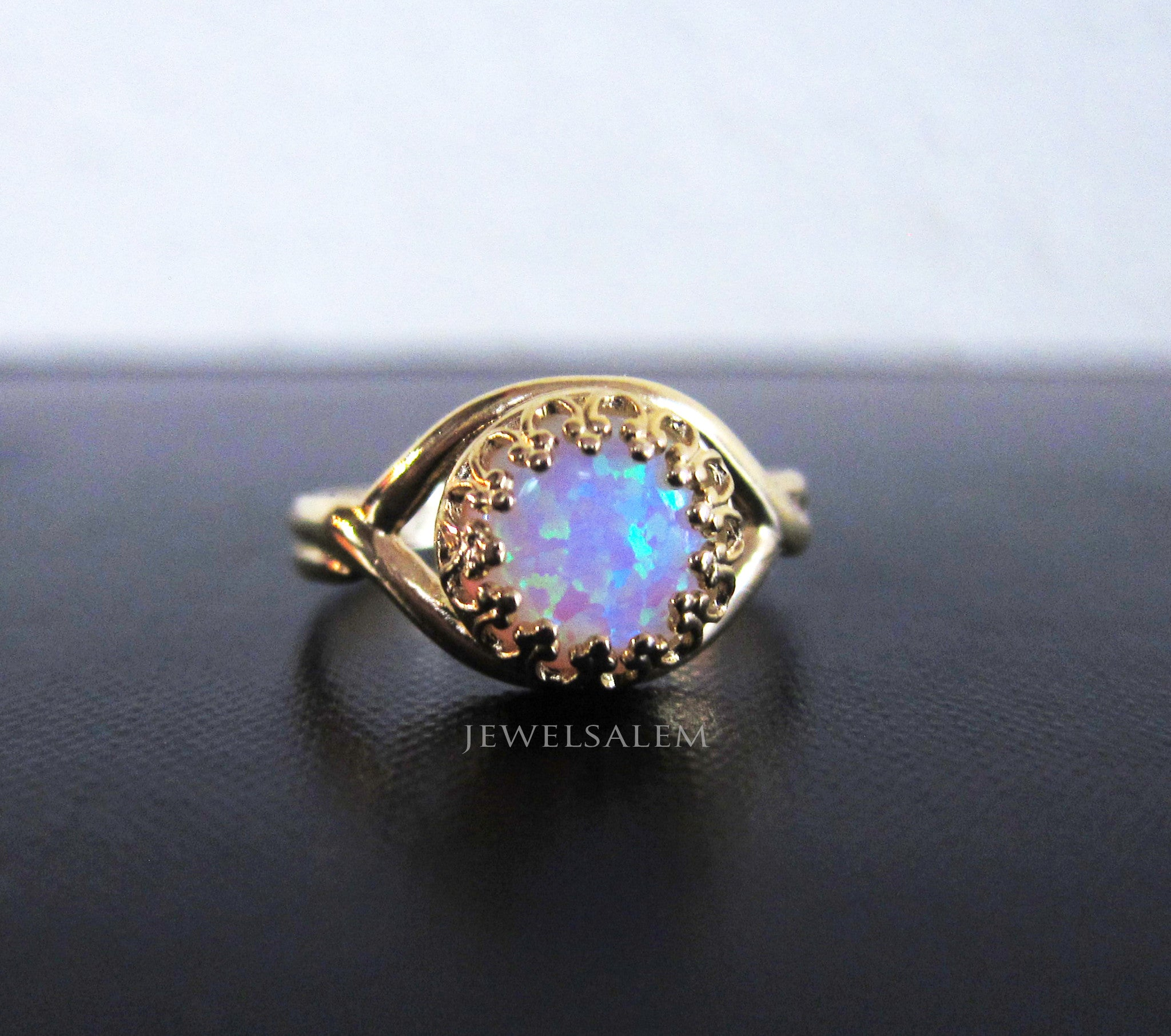 Fire Opal Ring Gold Oxidized Sterling Silver Rainbow Opal Ombre Ring Glitter Confetti Gift for Sister Friendship Best Friend Promise Ring - Jewelsalem