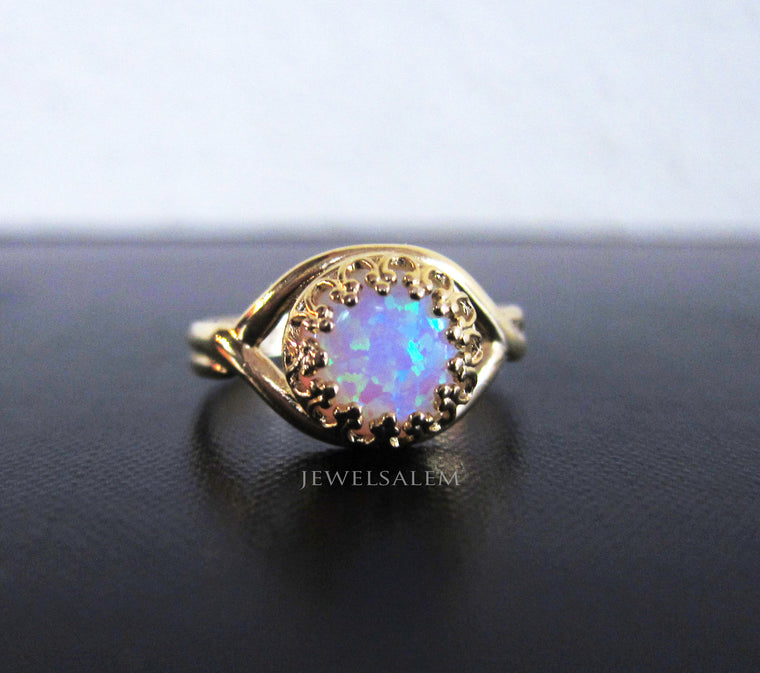 Opal Ring Gold Sterling Silver Rainbow Opal Friendship Ring