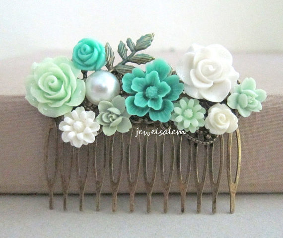 Teal Hair Comb Wedding Aqua Turquoise Seafoam Mint White Bridal Headpiece Floral Hair Slide Flower Collage Leaf Comb Vintage Romantic Shabby Chic - Jewelsalem