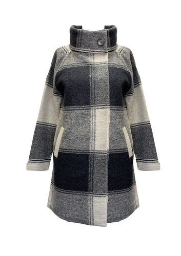 DARK GREY CHECK BOILED WOOL LONG JACKET