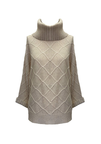 HORIZONTAL STITCH ROLL NECK SWEATER CREAM