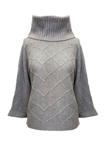 HORIZONTAL STITCH ROLL NECK SWEATER GREY