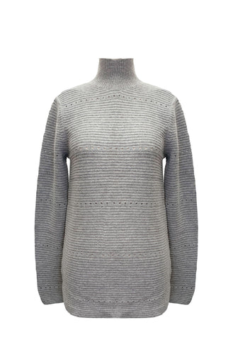 POINTELLE LINKS SWEATER GREY