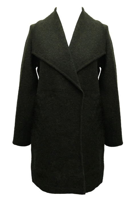 WOOL BLEND ASYMMETRIC WIDE COLLAR  GREEN
