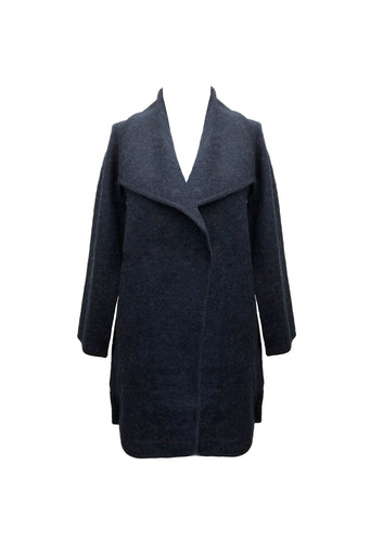 WOOL BLEND ASYMMETRIC WIDE COLLAR NAVY