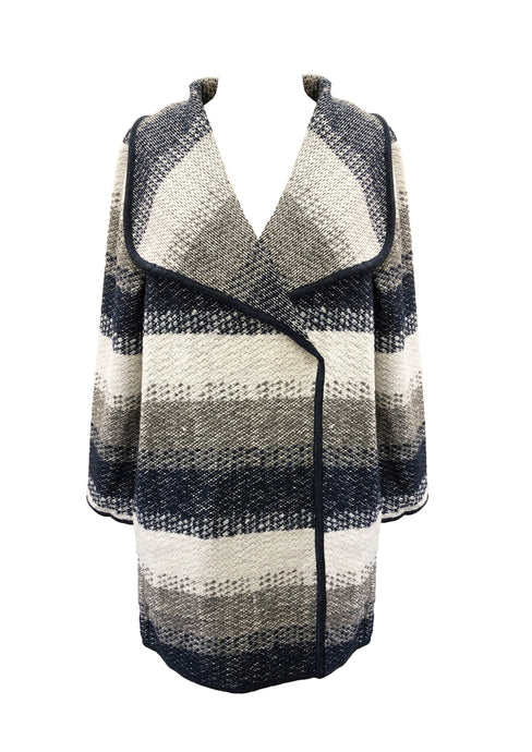 WOOL BLEND ASYMMETRIC STRIPE COAT