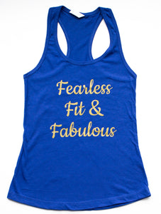 """Fearless Fit & Fabulous"" Royal & Gold Tank Top"