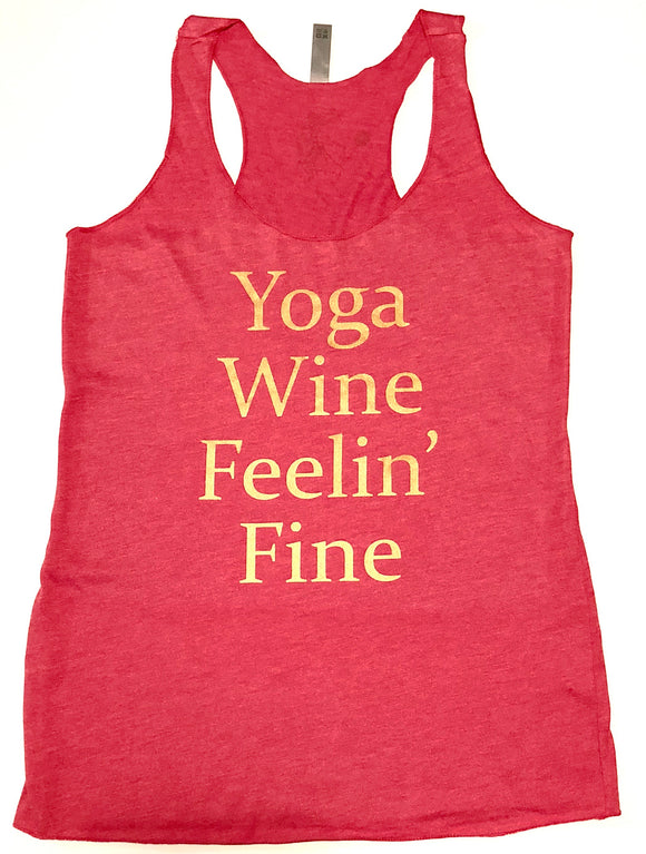 """Yoga Wine Feelin' Fine"" Red & Gold Tank Top"