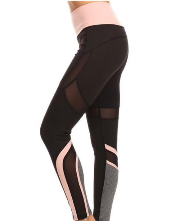 Signature Black & Pink Mesh Leggings