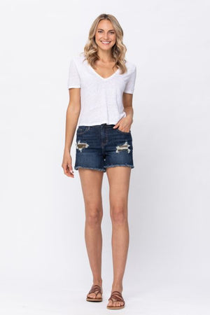 JUDY BLUE MID-RISE CAMO PATCH SHORTS (REG)
