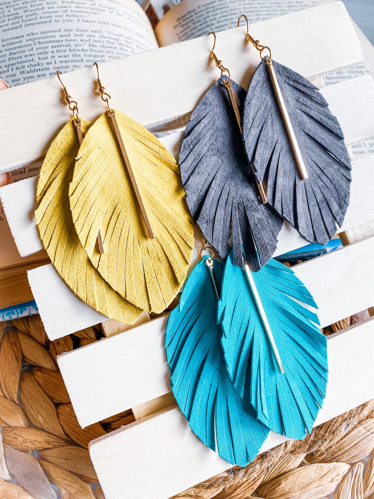 """Free Spirit"" Leather Feather Earrings"