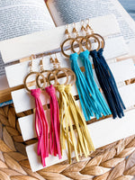 Vibrant Leather Tassel Earrings