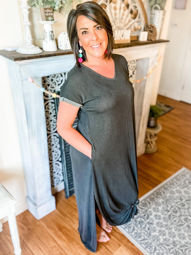 Load image into Gallery viewer, Grey Short Sleeve Maxi Dress