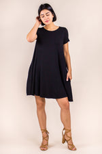 Basic Bamboo Swing Dress with Pockets PLUS