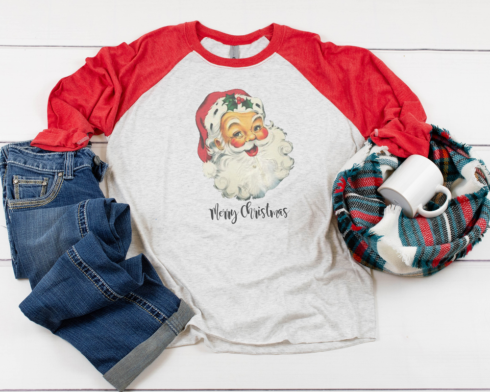 "Load image into Gallery viewer, ""Vintage Santa"" Raglan (Red Sleeve)"