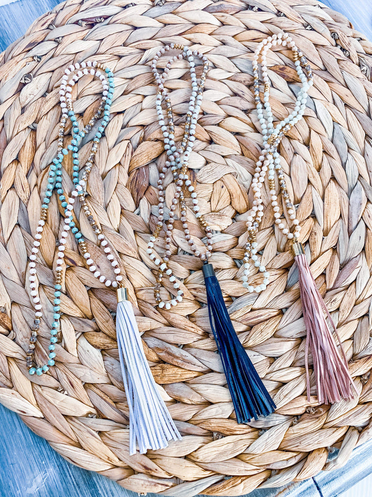 """Leather Goddess"" Tassel and Bead Necklace"