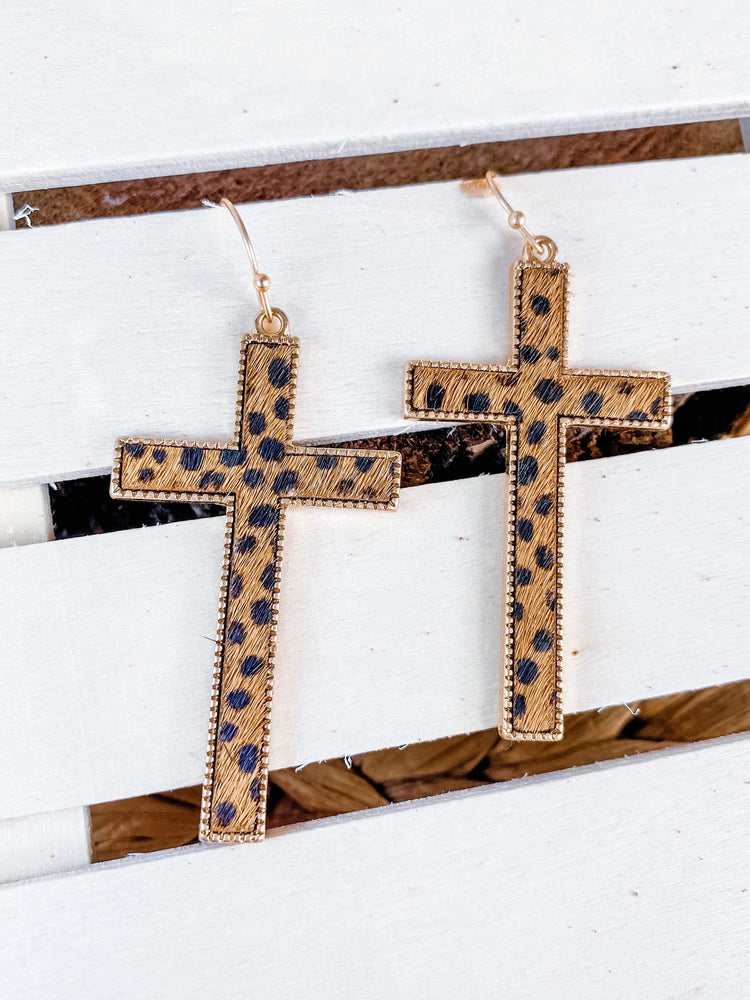 "Load image into Gallery viewer, ""Strong in Faith"" Cross Earrings"