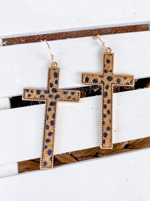 """Strong in Faith"" Cross Earrings"