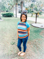 Stripe n' Solid Color Block Top