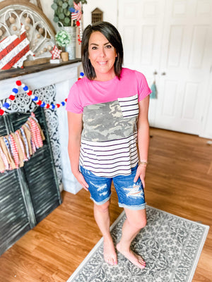JUDY BLUE Heavily Distressed Bermuda Shorts