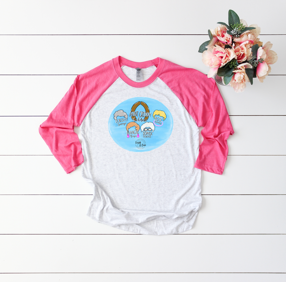 AUNT CRIDDY Golden Girl Raglan (Pink Sleeve)