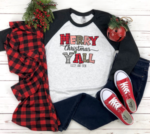 "Load image into Gallery viewer, ""Merry Christmas Y'all"" Raglan (Black Sleeve)"