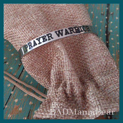 "Load image into Gallery viewer, ""Prayer Warrior"" Stainless Cuff Bracelet"